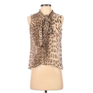 Talbots sleeves anima print blouse size 2 P New